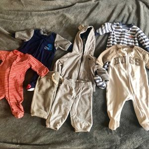 Baby boy 0-3 month warm bundle sleepers and sets